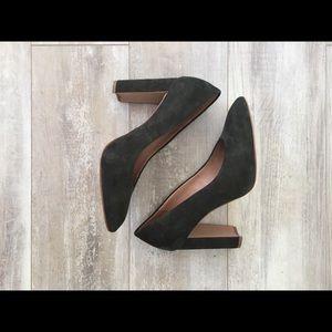 Madewell Hanna block heels, Brunswick green suede
